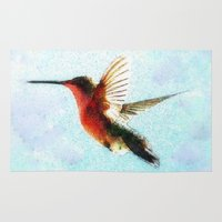 hummingbird Area & Throw Rugs featuring Hummingbird by Nichole B.