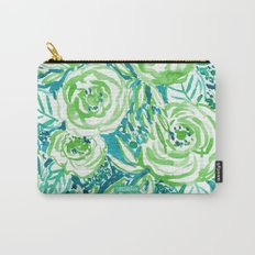 PHUNKY PHRESH Green Aqua Floral Carry-All Pouch