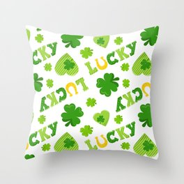 St. Patrick's Day Lucky Shamrocks and 4-Leaf Clovers Throw Pillow