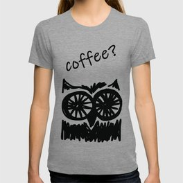 Coffee? Morning owl print T-shirt