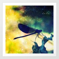 dragonfly Art Prints featuring Dragonfly by Luiza Lazar