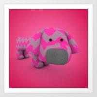 Stripy sausage dog Art Print