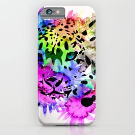 Bright Colorful Watercolor Snow Leopard iPhone Case