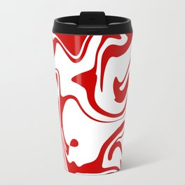 Holiday Red Liquid Marble Effect Pattern Travel Mug