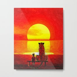 Calvin Hobbes Sunset Metal Print