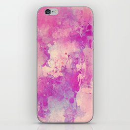 Abstract pink ivory teal watercolor brushstrokes pattern iPhone Skin