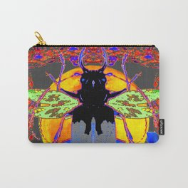 MYSTIC BLACK  BEETLE BLUE CALLA LILIES MOON ART Carry-All Pouch