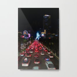 Traffic on The Las Vegas Strip Metal Print