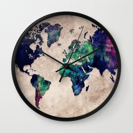 World map watercolor 1 Wall Clock