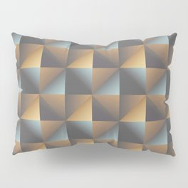 Industrial Urban Geometric Pattern in Burnished Gold & Steel Blue Pillow Sham