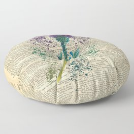 Vintage Jaggy Thistle  Floor Pillow