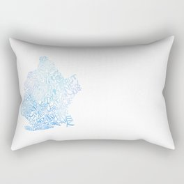 Typographic Brooklyn - Blue Watercolor map art Rectangular Pillow