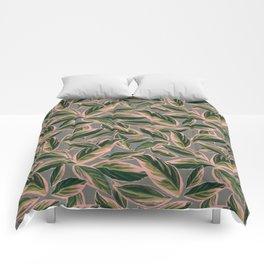 Calathea Leaves Pattern- Pink Green Gray Comforters