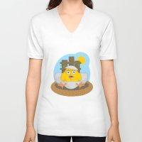 chicken V-neck T-shirts featuring chicken by Fargon
