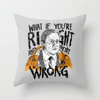 fargo Throw Pillows featuring What if You're Right by RJ Artworks
