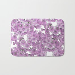 Pink Flowers on White Bath Mat