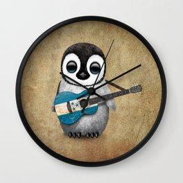 Baby Penguin Playing Honduras Flag Acoustic Guitar Wall Clock
