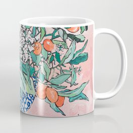 California Summer Bouquet - Oranges and Lily Blossoms in Blue and White Urn Coffee Mug