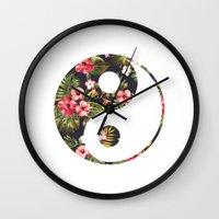 yin yang Wall Clocks featuring Yin Yang by Hipster