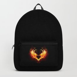 Angel Fire Heart with Wings Backpack