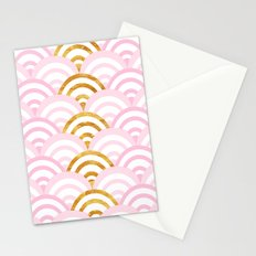 Pink and Gold Mermaid Scallops Stationery Cards