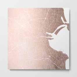Dublin Street Map Rose Gold and White Metal Print