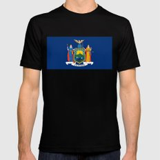 New York State Flag Black Mens Fitted Tee MEDIUM