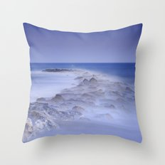 Rocks fighting against the waves Throw Pillow