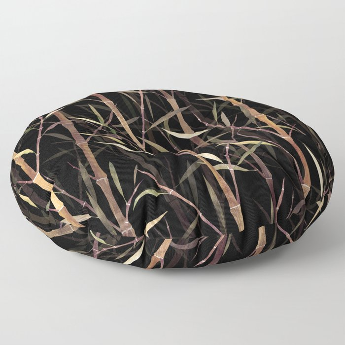Dry Bamboo Forest at Night Floor Pillow