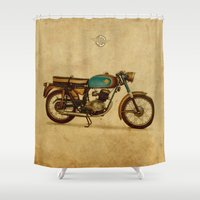 ducati Shower Curtains featuring Ducati 125 Aurea 1958 by Larsson Stevensem