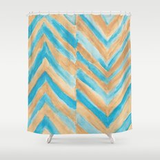 Beach Chevron Shower Curtain