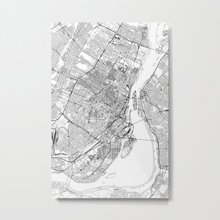 Montreal White Map Metal Print