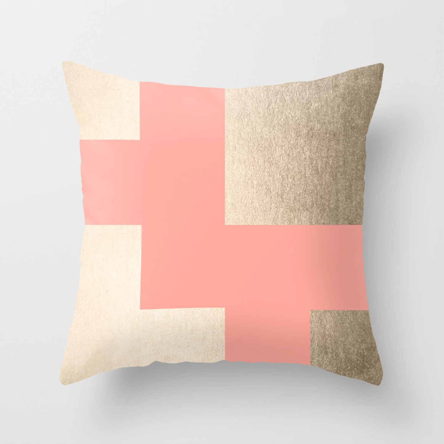 Simply Geometric White Gold Sands On Salmon Pink Throw Pillow By Followmeinstead Society6
