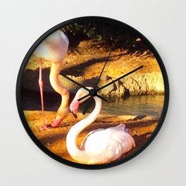 Flamingos geometry Wall Clock