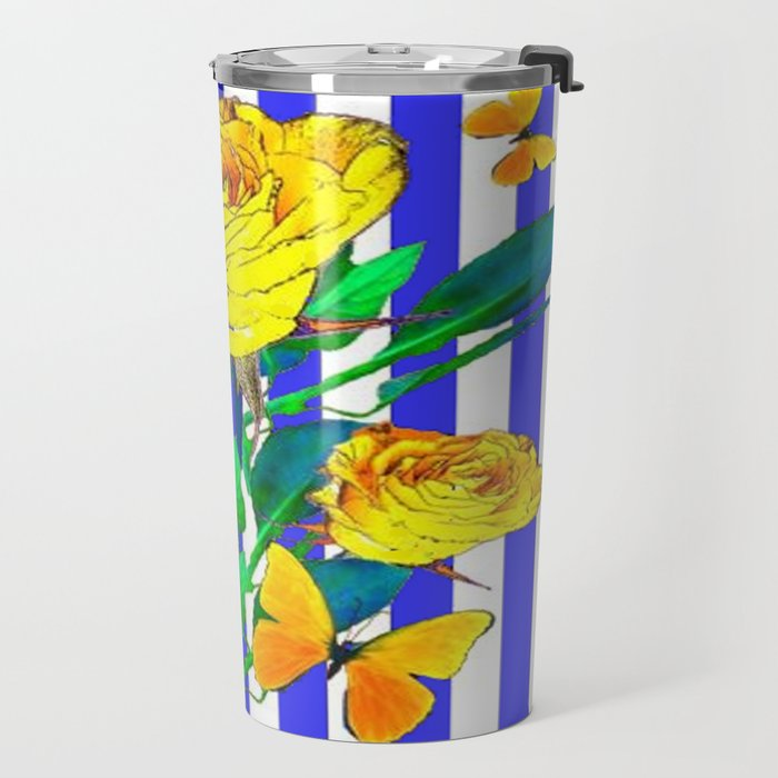 YELLOW SPRING ROSES & BUTTERFLIES WITH LILAC STRIPES Travel Mug