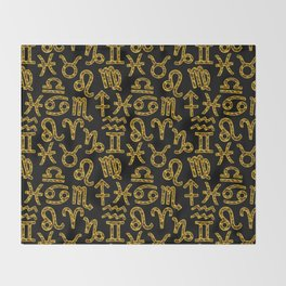 Zodiac signs background. Horoscope symbols. Astrology Throw Blanket