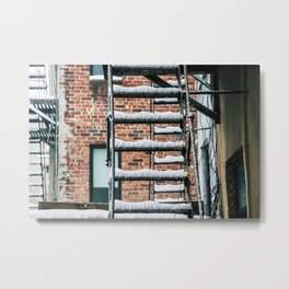 Fire Escape in Snow. East Village. New York City. Metal Print