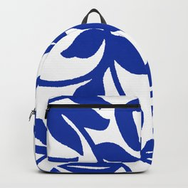 PALM LEAF VINE SWIRL BLUE AND WHITE PATTERN Backpack