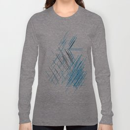 Lines, Blue and black Stripes Long Sleeve T-shirt