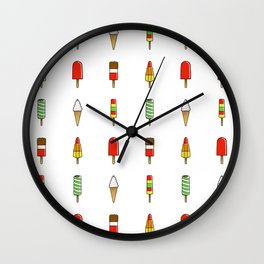 Ice Cream & Lolly Repeat Pattern Wall Clock