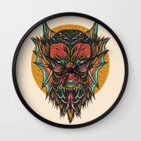 demon Wall Clocks featuring Demon by MIRKOW GASTOW