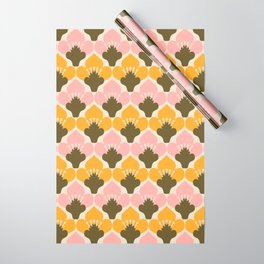 Yellow & Pink Flower Pattern Wrapping Paper