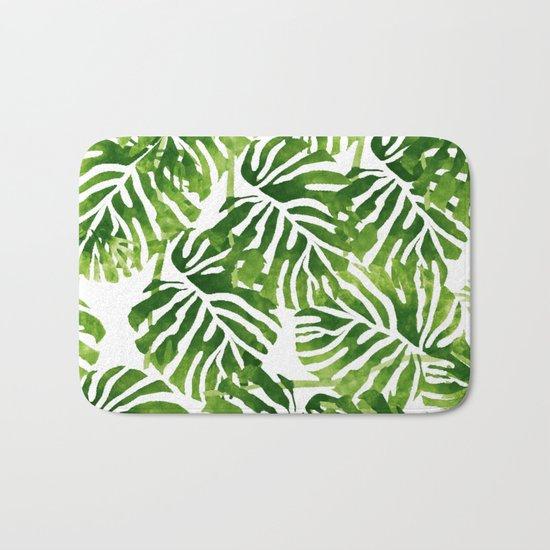 Tropical Leaves - Green Bath Mat