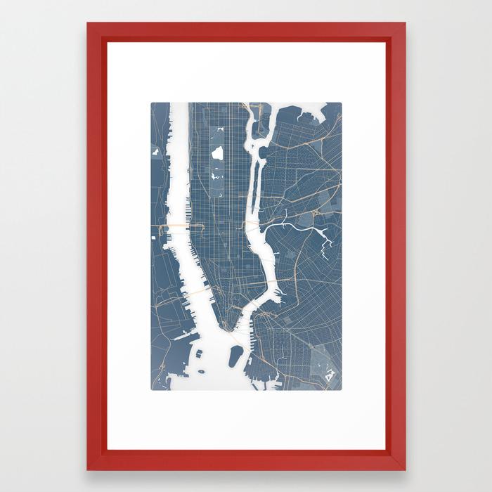 New York Subway Map Red.New York City Detailed Road Subway Map Framed Art Print