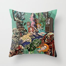 Zombie Slumber Party Throw Pillow