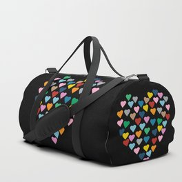 Hearts Heart Black Duffle Bag