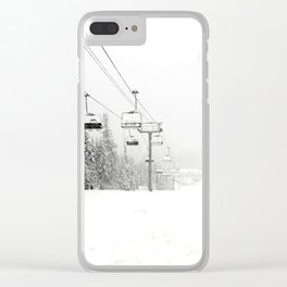 Lifts waiting for action in the snow Clear iPhone Case