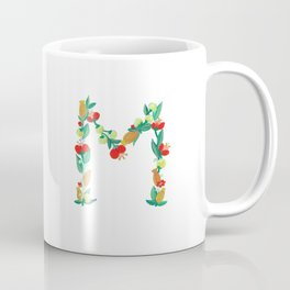 Initial Print, Floral Monogram Letter M Coffee Mug