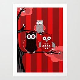 Red Owls Art Print