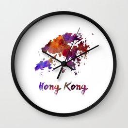 Hong Kong in watercolor Wall Clock